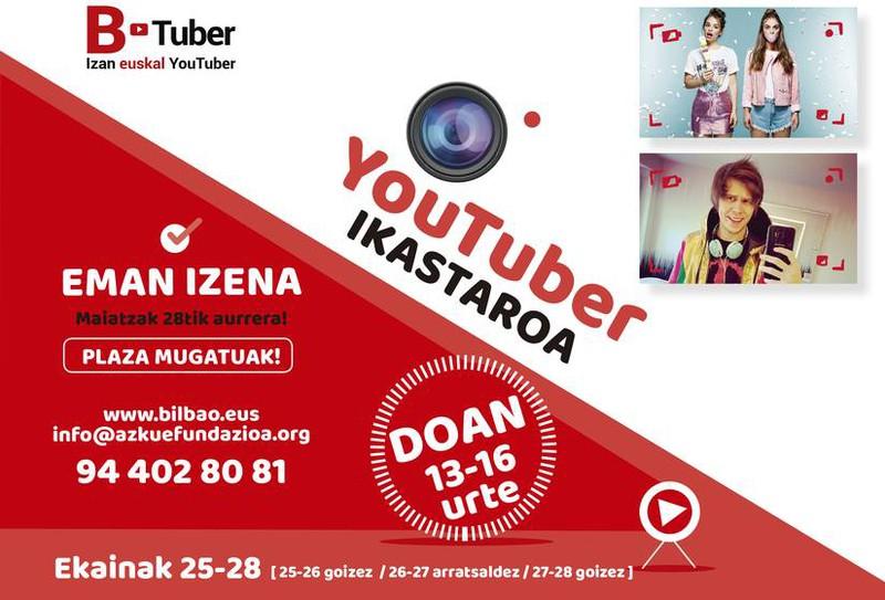 Euskaraz youtuber izateko ikastaroan izena emateko epea zabalik ekainaren 8ra arte