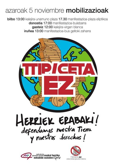 ELA eta LABek bat egiten dugu, azaroaren 5eko TTIP/CETA itunen aurkako Bilboko mobilizazioarekin