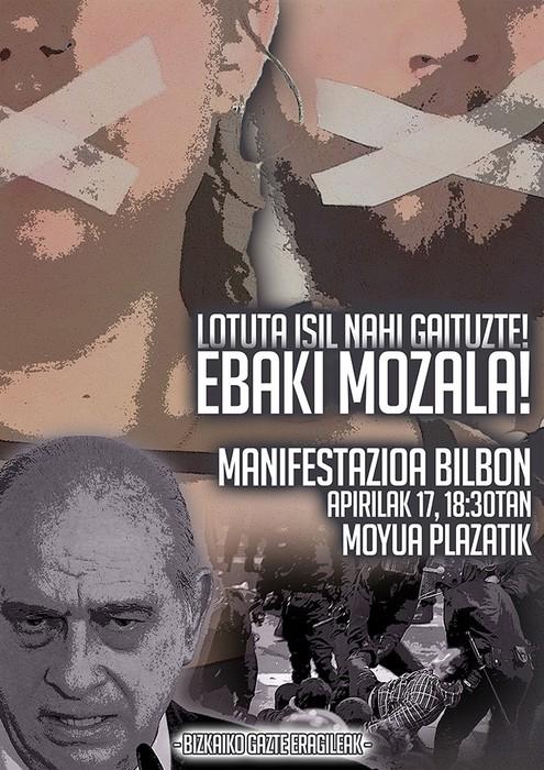 Mozal legea gaitzesteko protesta antolatu dute apirilaren 17rako Bizkaiko gazte eragileek