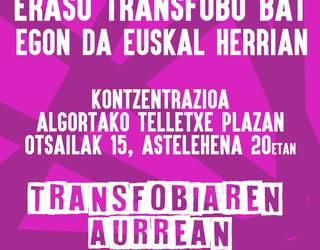 Eraso transfoboen kontrako elkarretaratzea egingo dute gaur Algortan