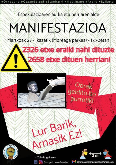 Manifestazioa: Espekulazioaren Aurka eta Herriaren Defentsan! Lur barik, arnasik ez!