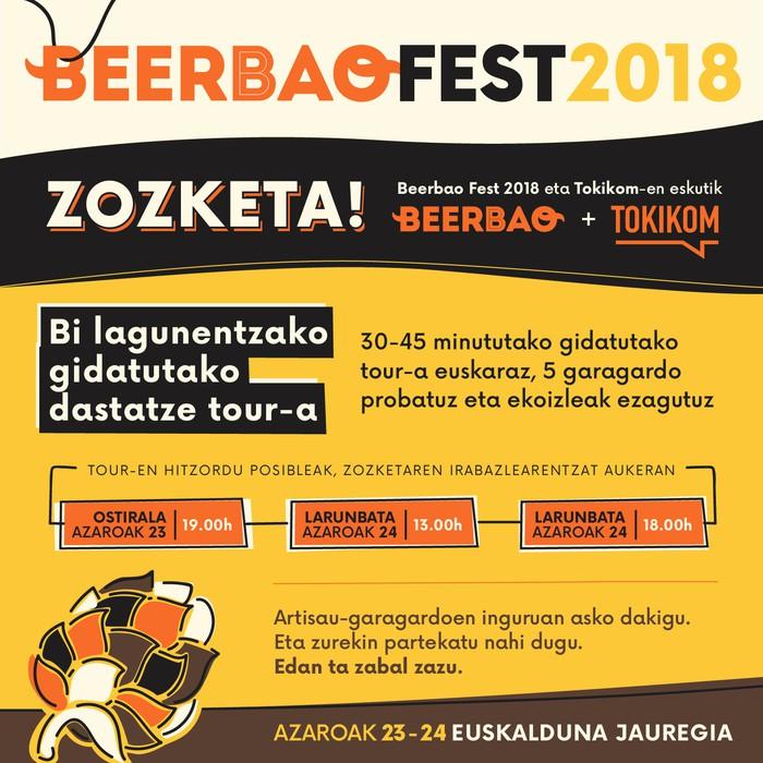 Artisautzazko garagardoa gustuko? Irabazi hemen Beerbao Fest azokako Tourrera joateko gonbidapenak!