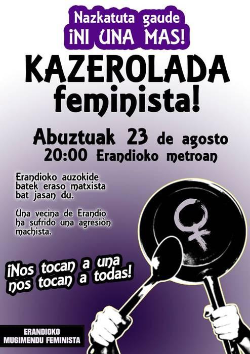 """Zapatuan Erandion jazotako eraso matxista salatzeko """"kazerolada feminista"""" egingo dute gaur"""
