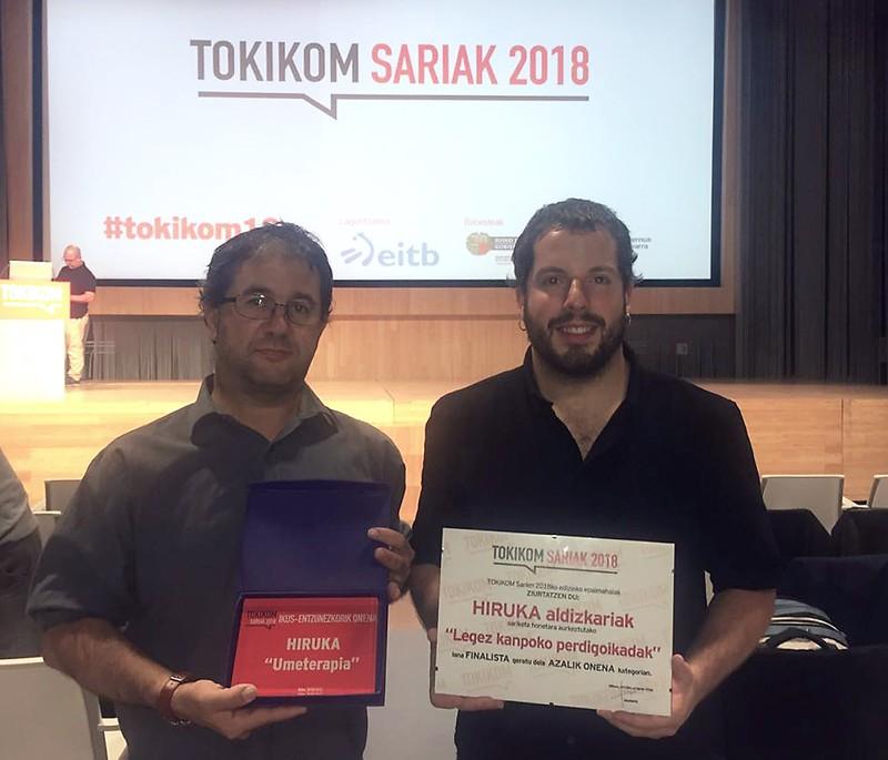 Ikus-entzunezkorik onenaren saria jaso du HIRUKAk Tokikom Sarietan