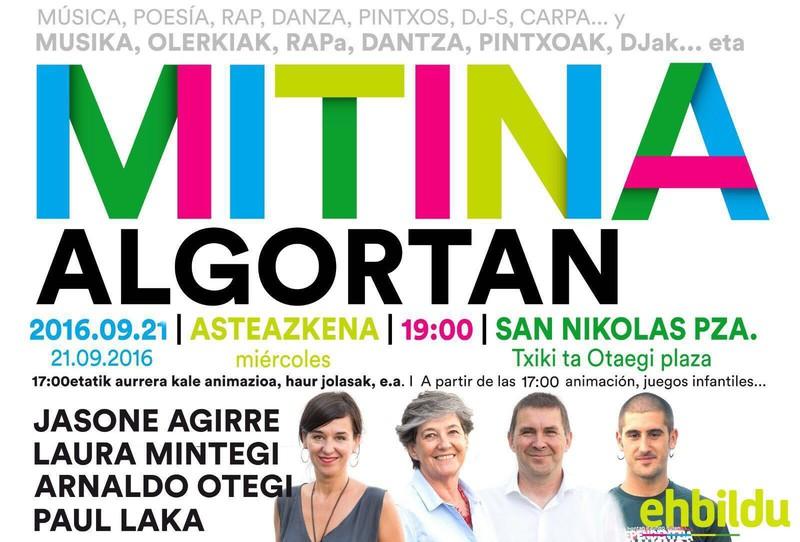 EH Bilduren ekitaldi politiko nazionala egingo dute gaur Algortan