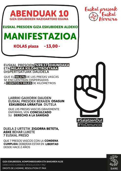 Euskal presoen giza eskubideen aldeko manifestazioa