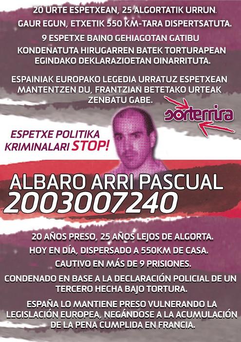Azaroaren 23an, Alvaro Arri Pascualen egoera salatzera
