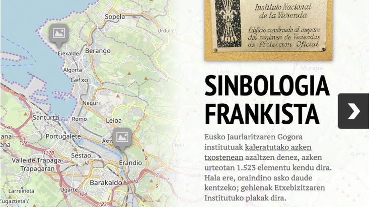 Frankismo garaiko sinboloak daude oraindino Getxon eta Erandion